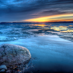 by Blaine Stauffer - Landscapes Waterscapes ( water, waterscape, sunset, ice, rock )