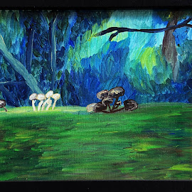 mushroom log by Paul Robin Andrews - Painting All Painting ( framed, acrylic, woodland, painting, mushrooms )