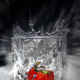 Srawberry by Steven Calcutt - Artistic Objects Glass ( flash, glass, splash water photography, waterdrops, strawberry )