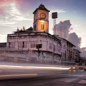 Time warp by Eric Montalban - Buildings & Architecture Public & Historical ( clouds, clock, clock tower, blue hour, street, thailand, architecture, phuket, travel, sunset, asia, buildings, long exposure, historical, light )
