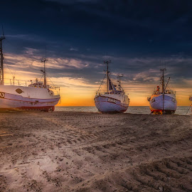 Thorup Strand by Ole Steffensen - Transportation Boats ( fishing vessels, jammerbugten, sunset, boats, sea, seascape, beach, denmark, thorup strand )