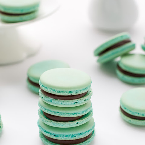 Baby Blue French Macarons With Chocolate Ganache