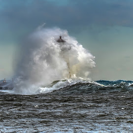 Engulfed by David Johnson - Landscapes Waterscapes ( stormy, grand marais, waves, lighthouse, lake superior )