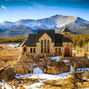 Church On  The Rock by Brandon Downing - Landscapes Mountains & Hills ( winter, mountain, park, church, estes, colorado )