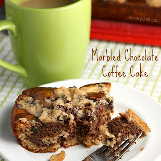 Marbled Chocolate Coffee Cake with Cashews and Banana