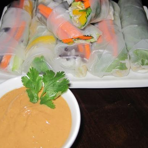Asian Spring Wraps With Spicy Peanut Sauce
