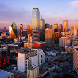 Standing in the Sun by Ryan Moyer - City,  Street & Park  Skylines ( skyline, sunset, dallas, texas, cityscape )