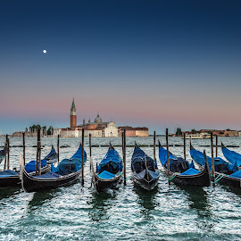 Venice Moonrise by David Long - City,  Street & Park  Vistas ( st mark's, gondola, venice )