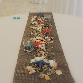 Shells and Candles by Becky Luschei - Wedding Other ( tables, votive, shells, decorative, wedding, votive candles, candles, sea, adorn, beach, seashells, objects )