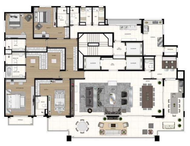 Planta 4 Suítes - 400 m²
