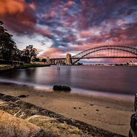 Sydney Sundown by Paul Aracic - City,  Street & Park  Skylines ( harbour, long exposure, bridge, opera house, sydney,  )
