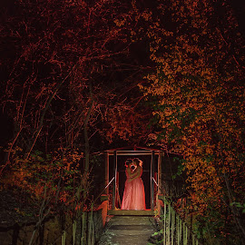 Wed in Red by Christo Greyling - Wedding Other ( loveislove, off camera flash, wedding, red gel, night portrait )