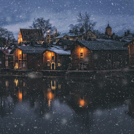 Christmas night by Jukka Pinonummi - City,  Street & Park  Night ( old, reflection, church, porvoo, finland, landscape, photography, lights, snow, fall, night, christmas tree, river, photoshop )
