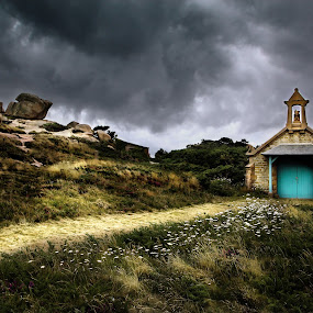 chapelle bretone by Olivier Tabary - Landscapes Cloud Formations ( nuage, bretagne, orage, église, land, chapelle )