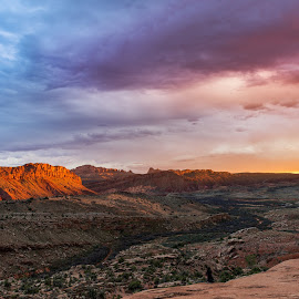 The Last Shot by Ryan Moyer - Landscapes Deserts ( moab, desert, arches national park, utah, sunset, landscape )