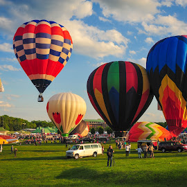 by Jim Richey - Transportation Other ( blue sky, bright, sunny, vibrant colors, day, hot air balloons )