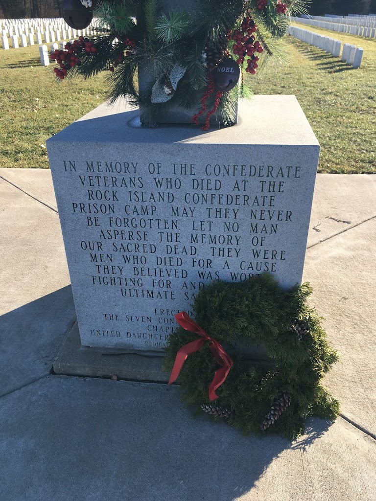 In memory of the Confederate veterans who died at the Rock Island Confederate prison camp. May they never be forgotten. Let no man asperse the memory of our sacred dead. They were men who died for a ...