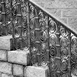 railing by Victoria Shaudys - Buildings & Architecture Public & Historical ( building, black and white, historical,  )