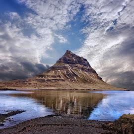 Kirkjufell mountain by Borislav Krustev - Landscapes Mountains & Hills ( clouds, water, kirkjufell, iceland, mountains, nature, waterscape, travel, landscapes, exploration )