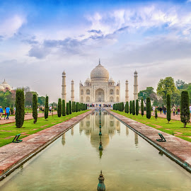 Taj Mahal by Ivon Murugesan - Buildings & Architecture Statues & Monuments ( reflection, building, symbol, love symbol, reflections, architecture, landscape, unesco, heritage, architect, love, natures, nature, fountain, taj mahal, buildings, agra, india, heritage site, landscapes, garden )