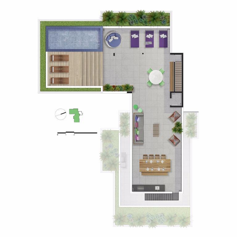 Planta Cobertura Duplex  Pav Superior - Unid 81 - 572 m²