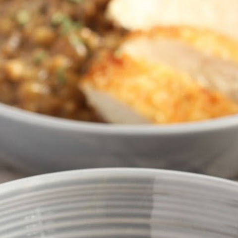 Mushroom Risotto with Parmesan Crusted Chicken