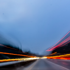 by Keith Sutherland - Abstract Light Painting ( light painting, speed, streaks of light, travel, evening, roadway )