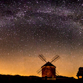 MW by Michal Dvořák - Landscapes Starscapes ( sky, stars, screensaver, night, landscape, windmill )