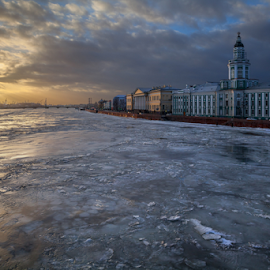 Icity by Maxim Malevich - City,  Street & Park  Vistas ( russia, winter, saint-petersburg, ice, architecture, town, river, city )