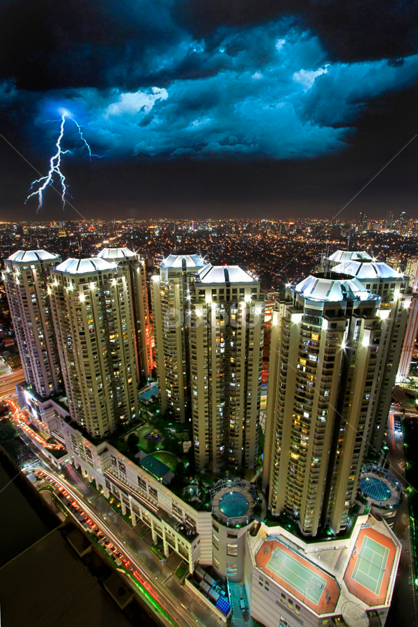 Lightning of Jakarta by Oscar Corputty - City,  Street & Park  Skylines