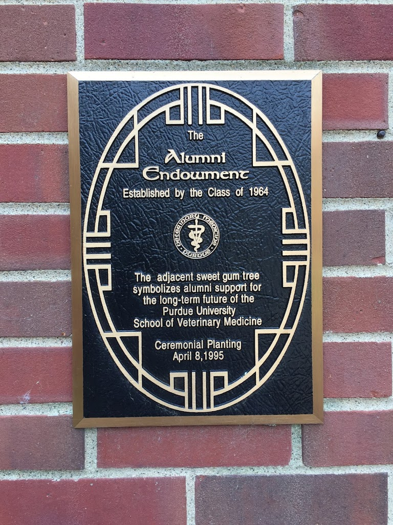 The Alumni Endowment Established by the Class of 1964 The adjacent sweet gum tree  symbolizes alumni support for the long-term future of the Purdue University School of Veterinary Medicine   ...