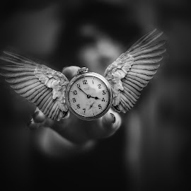 Reaching for Time by Kyle Re - Digital Art Things ( photoshop art, clock, black and white, watch, fine art, object, monotone, people, clocks, manipulation, contrast, hand, flying, blackandwhite, time, timepiece, fineart, wings, reaching, woman, soar, photoshop )