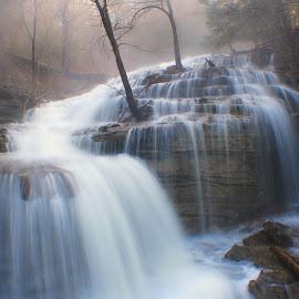 MORNING MIST by Dana Johnson - Landscapes Waterscapes ( waterfalls, fog, waterscape, cascade, morning, landscape, mist )