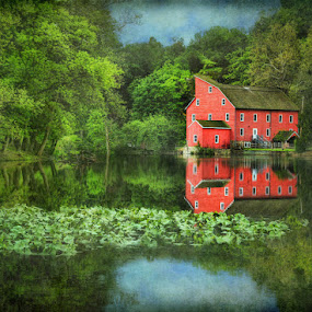 Red Mill Art by Pat Abbott - Digital Art Places ( mills, red, barns, landscapes )