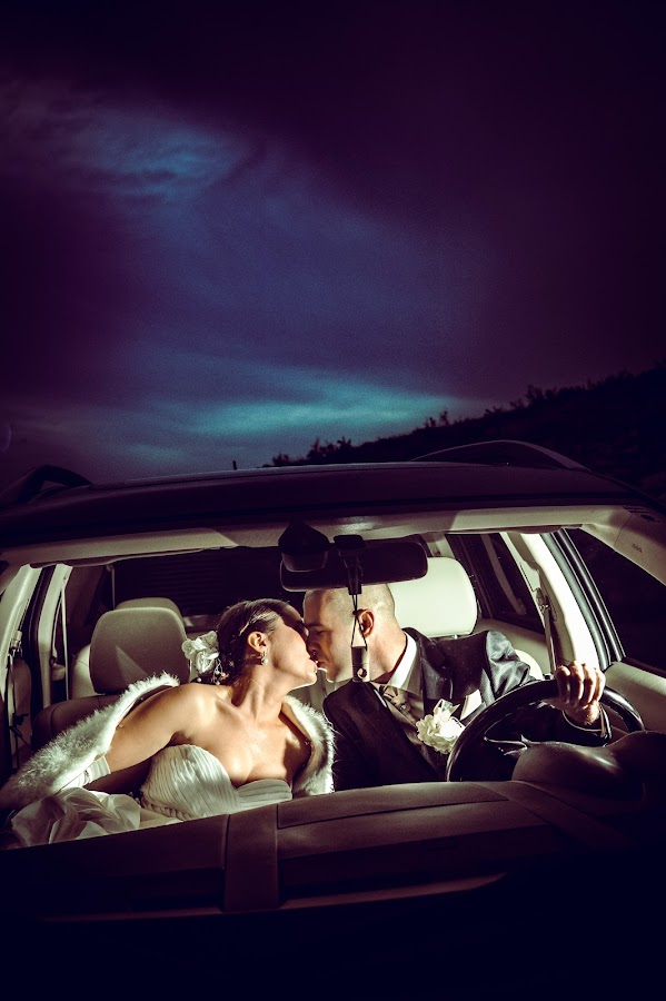 Bride and groom by Boštjan Vučak - Wedding Bride & Groom ( car, kissing, dark, night, bride, groom )