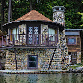 Cabin on the lake by Ruth Sano - Buildings & Architecture Homes ( water, home, cabin, lake, architecture, stones,  )