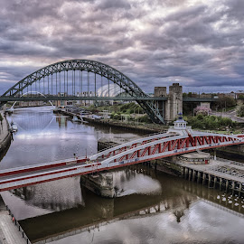 Tyne Bridges by Adam Lang - City,  Street & Park  Historic Districts ( tyne  bridges, river tyne, gateshead, newcastle, skies )