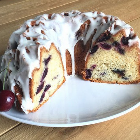 Fresh Cherry Bundt Cake with Vanilla Glaze