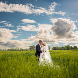Just the two of us by Paul Duane - Wedding Bride & Groom ( field, blue sky, ireland, nature, wedding, greenfield, bride, landscape )