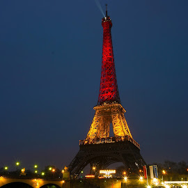 Eiffel Tower in Belgium Colours by Kwoh LK - Buildings & Architecture Statues & Monuments ( paris, eiffel tower, france, night )
