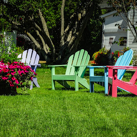 Long hot summer by Kathryn Potempski - Artistic Objects Furniture ( grass, colorful, chairs, garden )