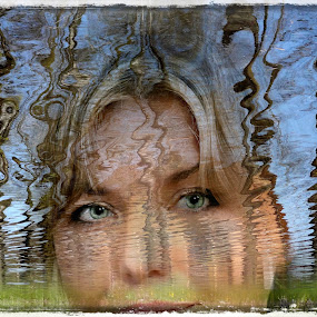 River fantasy by Zenonas Meškauskas - Digital Art People ( fantasy, face, reflection, lady, eyes, river )