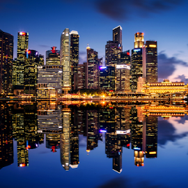 Singapore Financial District by Sam Song - City,  Street & Park  Skylines ( post office, skyline, reflection, financial district, mbs, night, singapore,  )