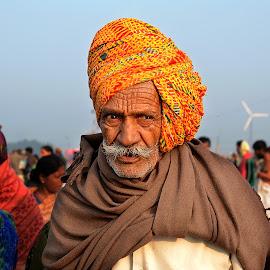 The color man by Prosenjit Ghosh - People Portraits of Men ( ganga, hindu, sagar, old, village, color, pagri, festival, india, beach, nikon, portrait, man )