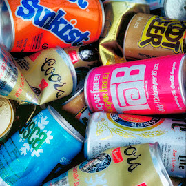 Old Soda Cans by James Farnum - Food & Drink Alcohol & Drinks ( tab soda can, cans, coors soda cans, crashed soda cans, old soda cans, soda cans )