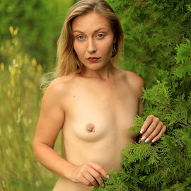 Blonde and Bushes by Big Pikey - Nudes & Boudoir Artistic Nude ( beautiful blonde art nude, beautiful, blonde girl in garden, blonde artistic nude, nude blonde in the bushes, beauty among bushes )