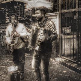 Jammin' by Susan McDavit - People Street & Candids ( musicians, sorrento, men, italy )