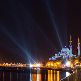 All Lit Up by Ansari Joshi - City,  Street & Park  Street Scenes ( winter, light painting, park, waterscape, mosque, colors, architecture, cityscape, lightfestival, worship, sharjah, slow shutter, nightscape )