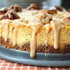 Pumpkin Bourbon Cheesecake with Spiced Pecan Crust