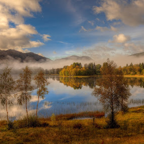 serenety by Rune Askeland - Landscapes Waterscapes ( autumn, fall, reflections, trees, lake )